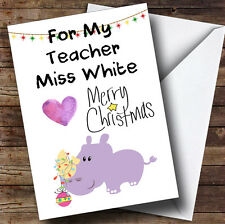 For My Teacher Purple Hippo Personalised Christmas Card