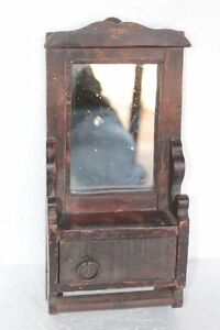 Wood Mirror Frame with Cupboard Old Vintage Antique Wooden Handcarved PU-16