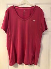 Adidas women's Uk size Xl extra large 20-22 pink running exercise top t-shirt