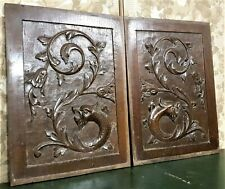 2 Griffin scroll leaf wood carving pediment Antique french achitectural salvage