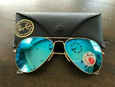 RAY BAN RB3025 112/4L Aviator Matte Gold Blue Mirror Polarized 58mm Sunglasses