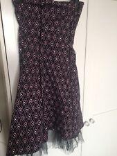 Bandeau Dress Size 10/12 Black Net With Pink Spots By Pilot