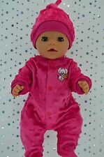 "Play n Wear Doll Clothes For 17"" Baby Born HOT PINK MINKY STRETCH AND GROW~HAT"