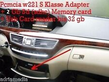 MERCEDES Comand 2gb SD SDHC PCMCIA ADAPTER + USB CARD READER fino a 32 GB w221 S KL