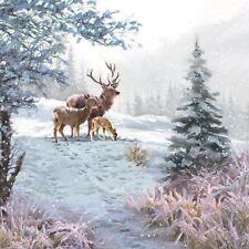 CIERVO Familia Nieve Invierno Navidad 33cmx33cm 33cm x 33cm 20 x 3 Capas