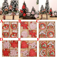 12PCS Christmas Hanging Decor Wooden Snowflakes Pendants Xmas Tree Ornaments