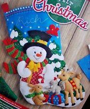 Bucilla  FOREST FRIENDS~NEW RELEASE~Felt Christmas Stocking Kit SNOWMAN~ANIMALS