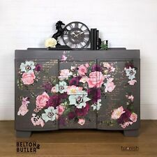 Solid Wood Mid Grey And Floral Sideboard With 4 Drawers And 2 Cupboards