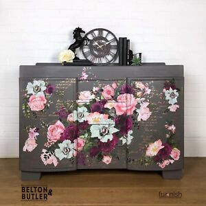 Solid Wood Mid Grey And Floral Flower Sideboard With 4 Drawers And 2 Cupboards