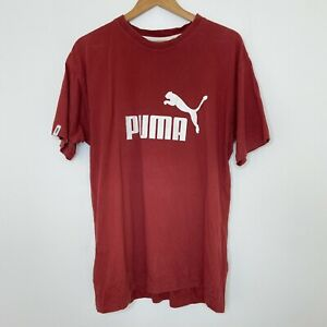PUMA Vintage Men's Red Maroon Spellout Short Sleeve T-Shirt Size Large