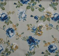 5 Metres Blossom Country Style Floral Curtain Fabric £18.99/Mtr - Blue