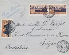 ROW308) Indochina 1949 inwards mail. Small airmail cover from New Caledonia