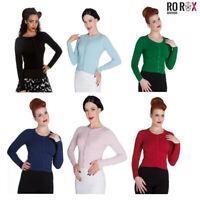Hell Bunny Paloma Vintage Cardigan Rockabilly 50s Long Sleeve Knit Retro Top