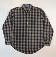 Crest by Tommy Hilfiger Mens Small Button Front Brown Plaid Long Sleeve Shirt