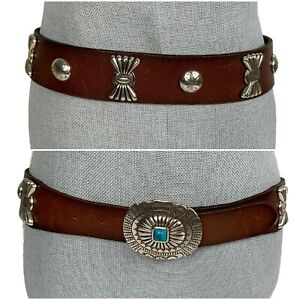 RALPH LAUREN Sz M Womens Western Style Concho Belt w/Turquoise Wide Leather