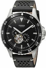 NWT Fossil Men's ME3148 'Crewmaster' Automatic Black Perforated Leather Watch