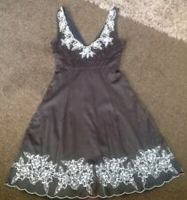 Stunning Black&silver Beaded Satin Look Dress From Jane Norman Size 10