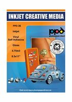 """PPD Inkjet Glossy Creative Vinyl Stickers LTR 8.5 x 11"""" 4.7mil x 20 Sheets (P..."""
