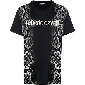 Roberto Cavalli Men's Black Studded Logo Short Sleeve T-Shirt