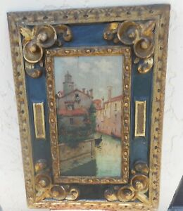 Antique Italian Venetian Buildings Painting In Hand Carved Frame Signed Mystery