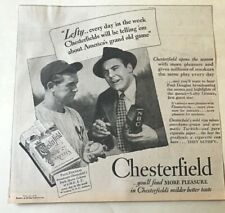 1937 newspaper ad for Chesterfield Cigarettes - Lefty Gomez New York Yankees