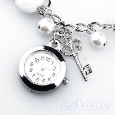 Women Girl Lady's Popular Fashion Quartz Charms Faux Pearl Bracelet Wrist Watch