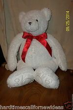 "22"" Bath & Body Works CUBBY White Teddy Bear Bean Bag Plush"