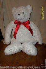 "22"" Bath & Body Works CUBBY White Teddy Bear Bean Bag Plush"
