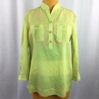 Talbots Womens Top Green Striped 3/4 Sleeve Notch Neckline Size M