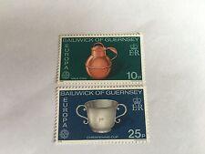 GUERNSEY SET MNH 1976 SG 139-40 EUROPA HANDICRAFTS MILK CAN CHRISTENING CUP