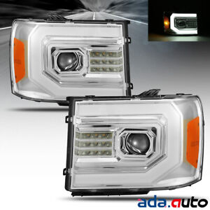 Fit 2007-2013 GMC sierra 1500 DRL/Signal LED DRL Chrome Projector Headlights Set