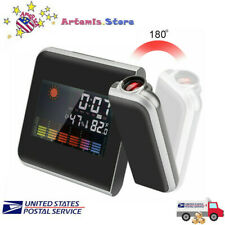 LED Digital Projection Snooze Alarm Clock Weather Thermometer Calendar Backlight