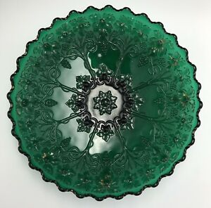 "Antique (c 1903) Northwood Grape Frieze Footed Dish, Emerald Green, 10.5"" Rare!"