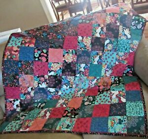 Pieced Unique Throw Quilt Colorful Eclectic Botanical Patterns with White Birds