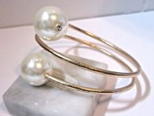 CONTEMPORARY WRAP STYLE GOLD TONE BRACELET FANCY DOUBLE FAUX PEARL RHINESTONE