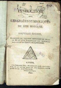 Franc Maçonnerie GO - Instruction Grades Symboliques Rite Moderne - 1820