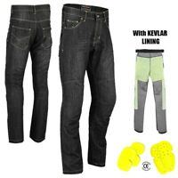 Mens Motorcycle Jeans Motorbike Pant Made with Kevlar Trousers CE Armoured Black