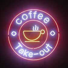 """New Coffee Take Out Open Beer Light Lamp Neon Sign 24""""x24"""""""
