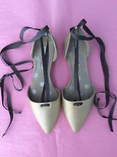 Gorgeous Brand New BODEN Metallic Gold Florence Flat, Ribbon Tie Shoes Size 5/38