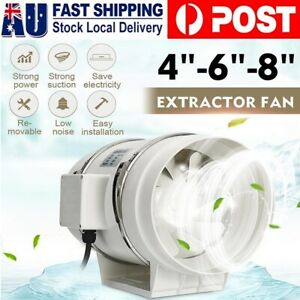 """4/6/8"""" Inch Silent Extractor Fan Duct Hydroponic Inline Exhaust Vent Industrial"""