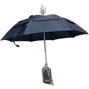 NEW! Gustbuster Navy Spectator Umbrella Seat Chair Walking Stick Tournament