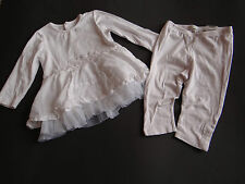 JEAN BOURGET Zauberhafte weiße Kombi Kleid und Leggings Taufe Hochzeit Gr.74 12M