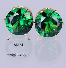 Boxed Gift 8mm Emerald Green Paste Gold Crystal Stud Earrings Present UK