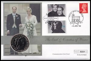 1999 GB Earl & Countess of Wessex Edward & Sophie Guernsey £5 Coin Cover