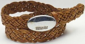 KENNETH COLE REACTION BROWN WOVEN BRAIDED LEATHER JEANS CASUAL BELT SZ MEDIUM