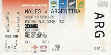 Wales v Argentina 10 Nov 2012 Cardiff  RUGBY TICKET