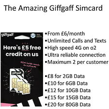 GiffGaff Simcard Pay as you go PAYG Sim Card (for 2G/3G/4G) with £5 free credit