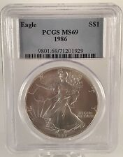1986 American Silver Eagle 1 oz. .999 Fine Silver Dollar Coin PCGS MS 69 Graded