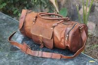 "24""Men's genuine Leather large Handmade Duffle gym weekend overnight Bag Travel"