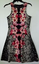 H & M BLACK TROPICAL SUMMER FLARED DRESS DRESS SIZE SMALL